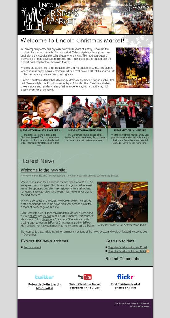 Lincoln Christmas Market Website - 2010 Version