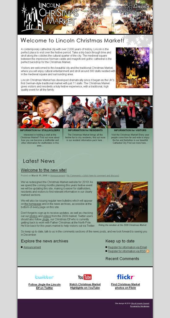 Lincoln Christmas Market Website - 2010 Version